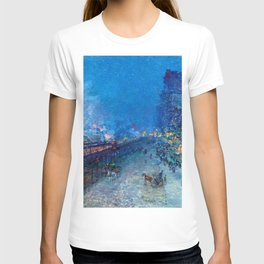 Classical Masterpiece 'Night Train' by Frederick Childe Hassam T-shirt