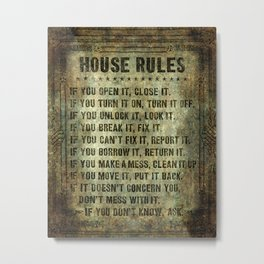 House rules on aged vintage retro looking parchment patina Metal Print