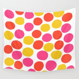 Bunte Punkte 003 / Mid-Century Modern Pattern Of Red, Pink & Yellow Dots Wall Tapestry