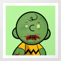 charlie brown Art Prints featuring Zombie Charlie Brown by rkbr