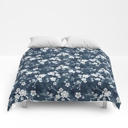 Navy and white cherry blossom pattern Comforters