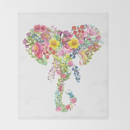 Flower Elephant Watercolor Throw Blanket