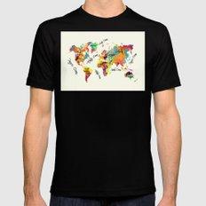 world map art text Black Mens Fitted Tee MEDIUM