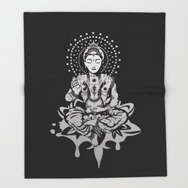 Buddha in lotus position Throw Blanket