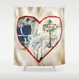 Paris Roadmap of Love Shower Curtain