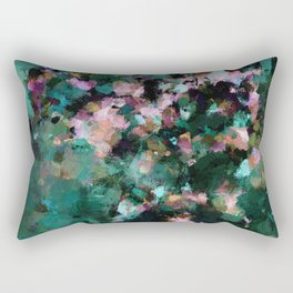 Contemporary Abstract Wall Art in Green / Teal Color Rectangular Pillow