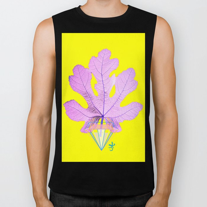 Fig Leaf Diamond Christmas Yellow Golden Biker Tank
