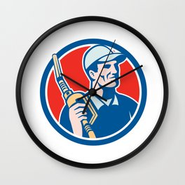 Gas Pump Attendant Jockey Nozzle Circle Wall Clock
