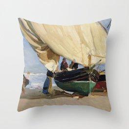 Fishermen Beached Boat, Valencia - Joaquín Sorolla  Throw Pillow