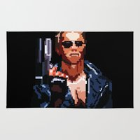 terminator Area & Throw Rugs featuring Terminator Pixelated by Escobarr