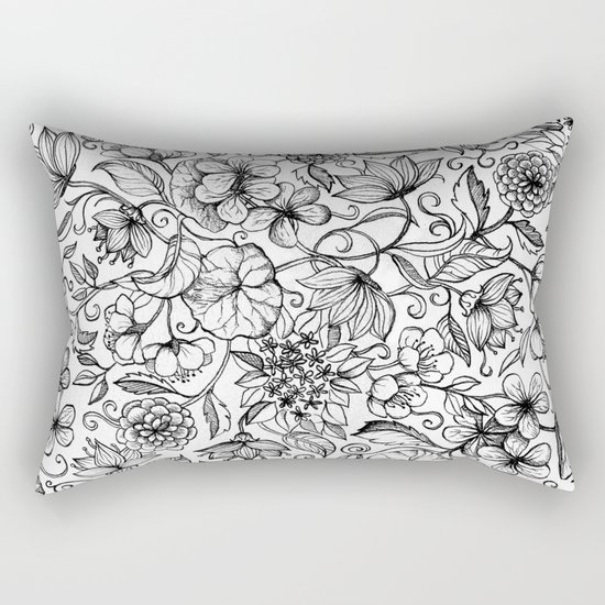 Hand drawn pencil floral pattern in black and white Rectangular Pillow