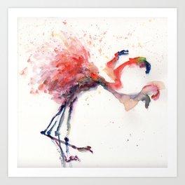 Flamingo in Motion II Art Print