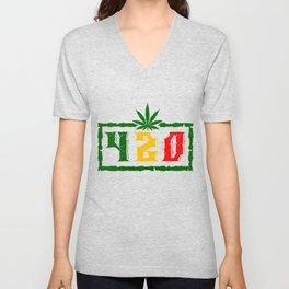 420 BLAZE IT MARIJUANA LEAF Gifts For Stoner Unisex V-Neck