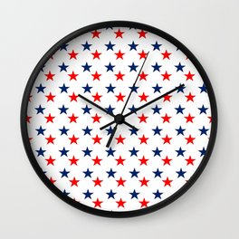 Patriotic red white blue stars usa Wall Clock