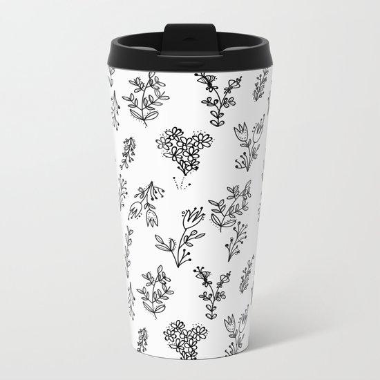 Floral White Pattern Metal Travel Mug