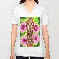 tiki V-neck T-shirts featuring Tiki by Tuff Luck Les