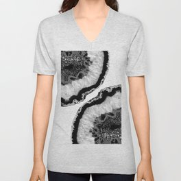 Gray Black White Agate Glitter Glamor #2 #gem #decor #art #society6 Unisex V-Neck