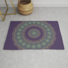 Lotus Mandala in Dark Purple Rug