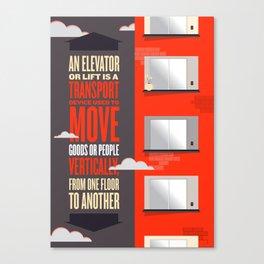 Elevator - Illustrated Wikipedia Canvas Print