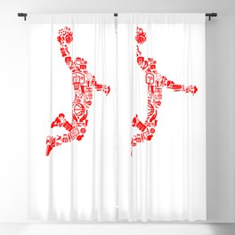 Basketball RED Blackout Curtain
