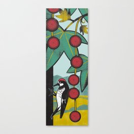 Woodpecker on a Sycamore Tree Canvas Print