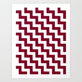 White and Burgundy Red Steps LTR Art Print