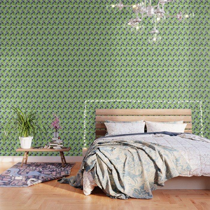 Cut-Out Flowers Pattern - Blue/Green Wallpaper