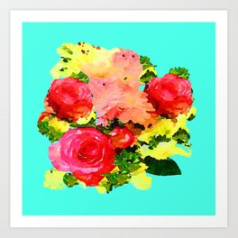 Watercolor Floral Painting with Turquoise Mint Blue Background Art Print