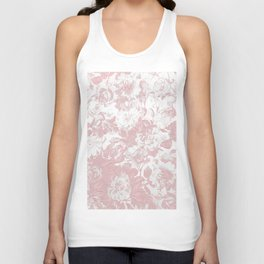 Girly trendy pink coral white lace floral Unisex Tank Top
