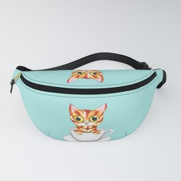 Striped coffee cat Fanny Pack