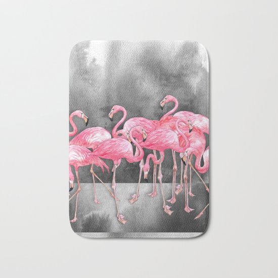 Flamingo Collage in Watercolor and Ink Bath Mat