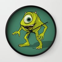 monsters inc Wall Clocks featuring Monsters, Inc. | Mike Wazowski by Brave Tiger Designs