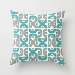 Funky Mid Century Modern Pattern 554 Gray and Turquoise Throw Pillow