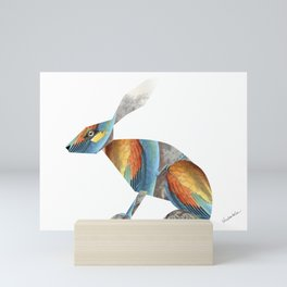 Rabbit Collage in Rainbow Feathers Mini Art Print