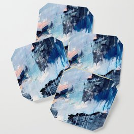 Vibes: an abstract mixed media piece in blues and pinks by Alyssa Hamilton Art Coaster