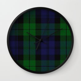 chainsaw blue & green - holiday and everyday black blue tartan black watch plaid check Wall Clock