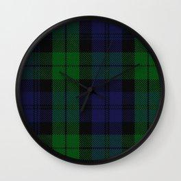 chainsaw blue & green - holiday and everyday black blue tartan black watch plaid check Wall Clock