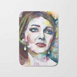 MARIA CALLAS - watercolor portrait .8 Bath Mat