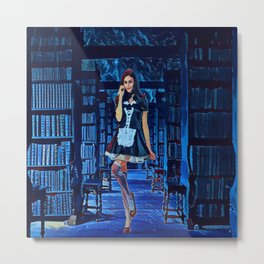 Lady in the library Metal Print