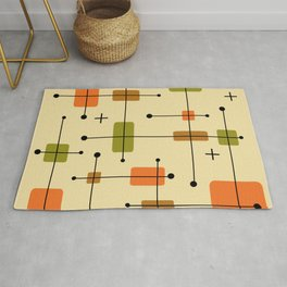 Rounded Rectangles Squares Earth Tones 1 Rug