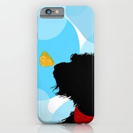 Black Labradoodle Dog with butterfly iPhone Case