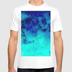 Mermaid paradise | blue ombre turquoise watercolor MEDIUM Mens Fitted Tee White