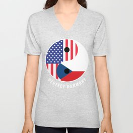 USA Czech Republic Ying Yang Heritage for Proud Czech American, Biracial American Roots, Culture, Unisex V-Neck