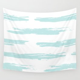 Swipe Stripe Succulent Blue and White Wall Tapestry