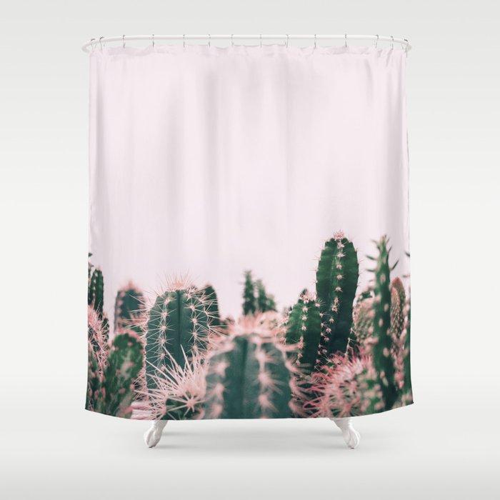 Pink Blush Cactus Shower Curtain