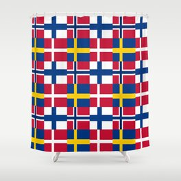 Flags of scandinavia2: finland, denmark,swede,norway Shower Curtain