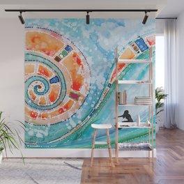 Wahine Surfing Big Rainbow Wave Wall Mural
