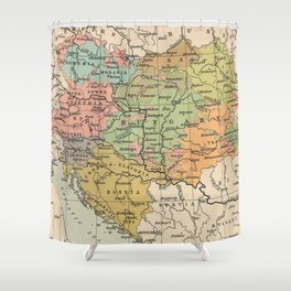 Vintage Map of Austria and Hungary (1911) Shower Curtain