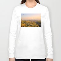 hot air balloons Long Sleeve T-shirts featuring Hot Air Balloons Over Landscape by Limitless Design