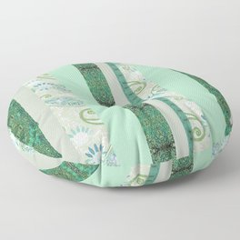 French Stripe Green/Grey Floor Pillow